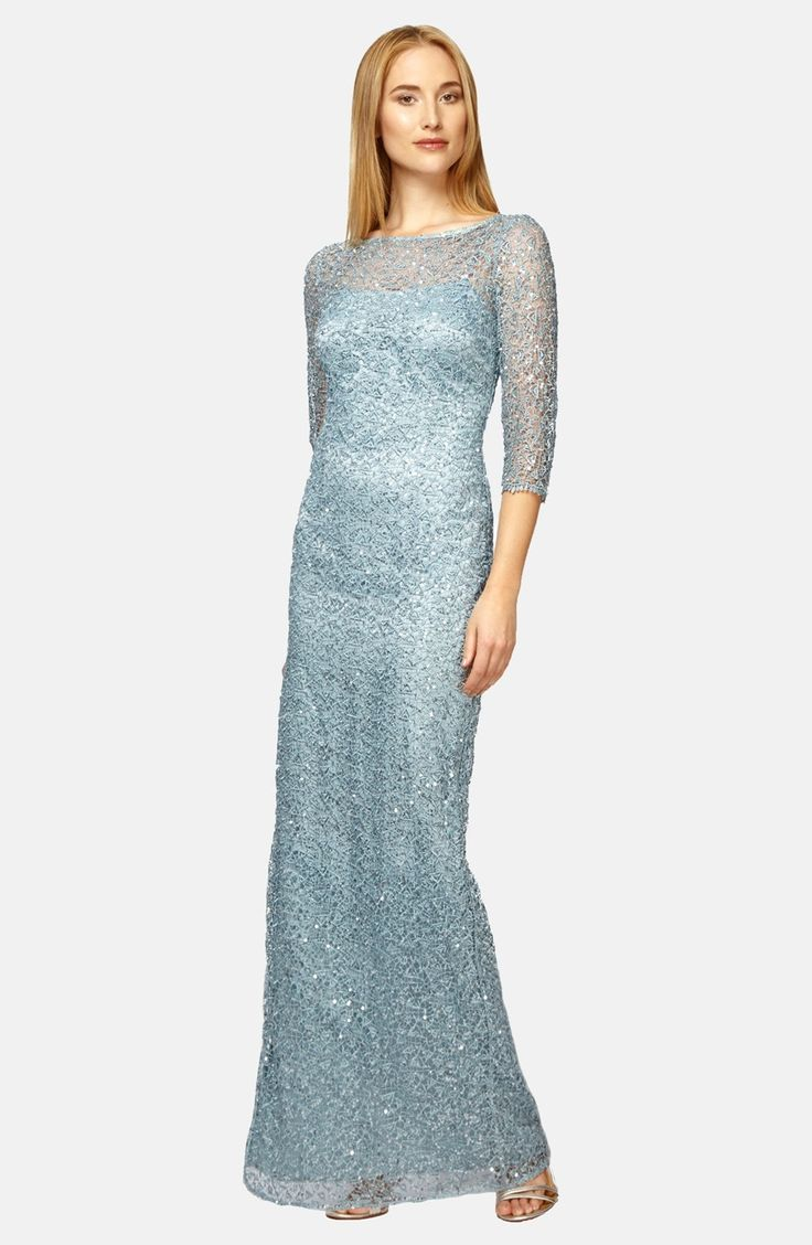 Papell cap sleeve beaded sequined gown dresses women macy s - Kay Unger Sequin Lace Colum Gown Available At Nordstrom