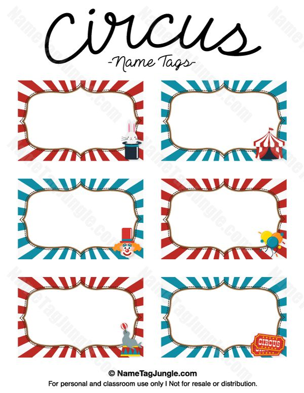Free Classroom Decoration Templates ~ Free printable circus name tags the template can also be