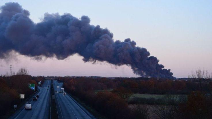 Prescot warehouse fire: Blaze at hazardous waste site - BBC News