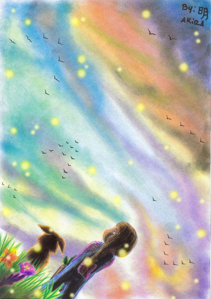 Luciernagas ante un cielo de colores nwn by Akira-Minami on DeviantArt