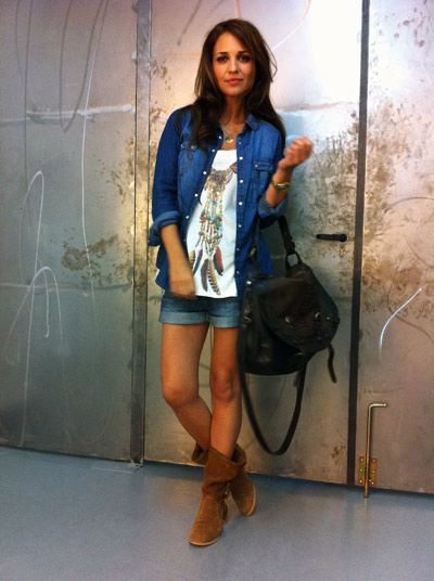 Shorts jean+Camiseta dibujo+Camisa denim
