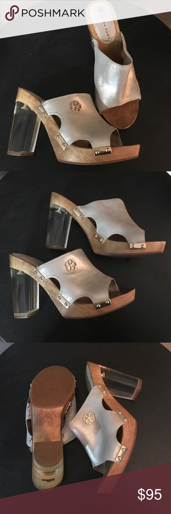 Trink turk chunky heels Size 8M Trina Turk wooden and clear chunk wedge heels. Heel height is 3.5 inches. Metallic silvery/gold strap across the top of foot. Almost new condition worn twice Trina Turk Shoes Heels