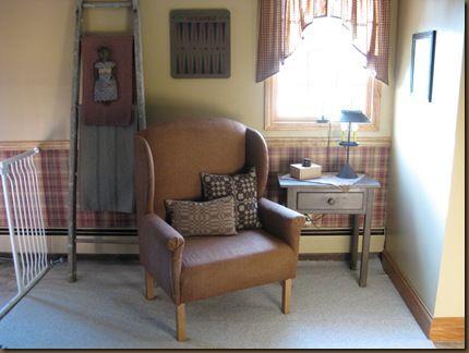Wing back chair: Homey Spaces, Prime Decor, Simply Prim, Prim Room, Mistletoe Fair, Primitives Furniture