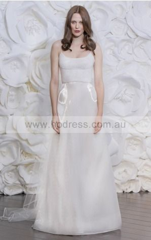 Zipper Sweep Train A-line Natural Spaghetti Straps Wedding Dresses hmcf1001--Hodress