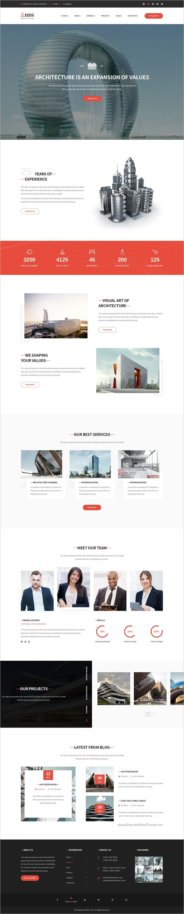 Leeds is beautifully design premium #PSD template for #architecture company #websites with 3 homepage layouts and 16 organized PSD pages download now➩ https://themeforest.net/item/leeds-architecture-psd-template/19268983?ref=Datasata