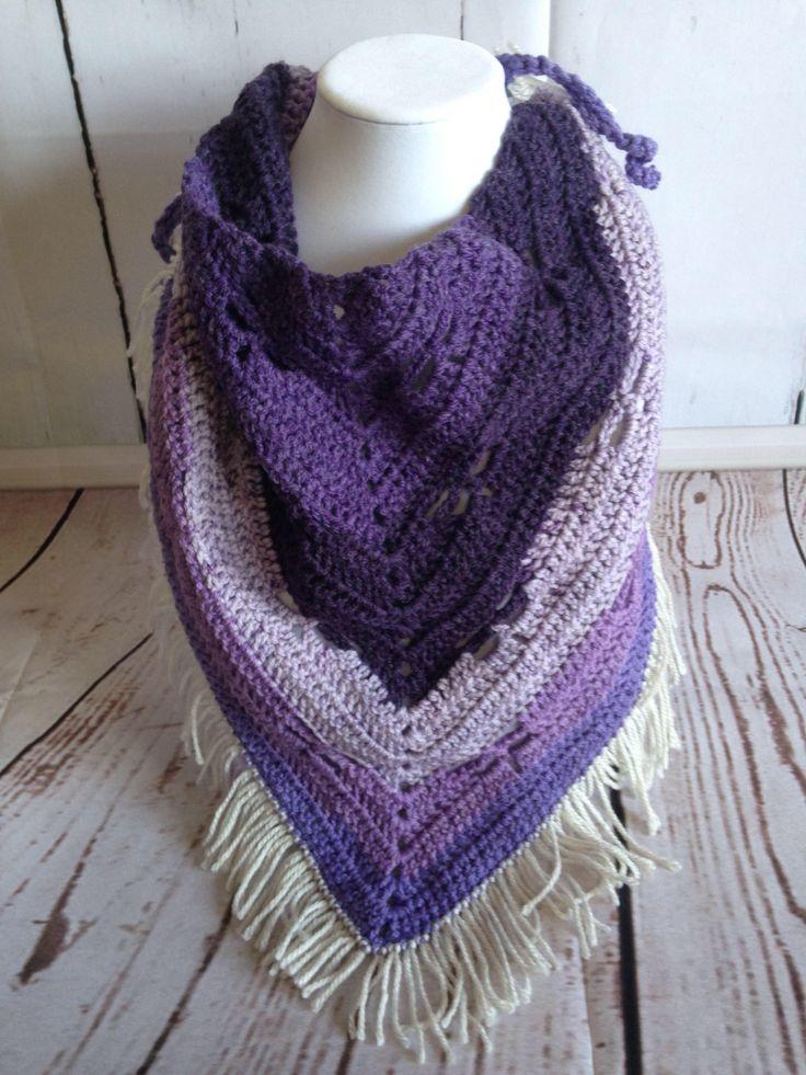 Purple Scarf - Fringe Scarf - Triangle Scarf - Shawl - Scarf - Crochet Scarf - Crochet Shawl - Purple Shawl - Fringe Shawl - Summer Scarf by StephsFamilyStitches on Etsy https://www.etsy.com/ca/listing/497543300/purple-scarf-fringe-scarf-triangle-scarf