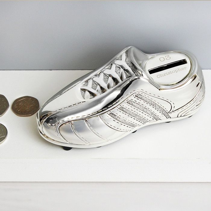 Shop Now!  http://www.blueponystyle.com/products/personalised-football-boot-money-box-silver-plated?utm_campaign=social_autopilot&utm_source=pin&utm_medium=pin   #etsymntt #EtsySocial #ESLiving #ebay #toys #EpicOnEtsy #etsyretwt #gift #xmas #shopifypicks