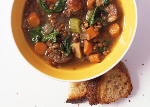 lentil soup with spicy sausage.  this is my favorite soup to eat in the winter - looking forward to colder weather.