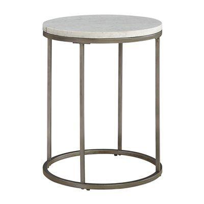 Casana 836-035, MBW-035 Alana Round White Marble Top End Table