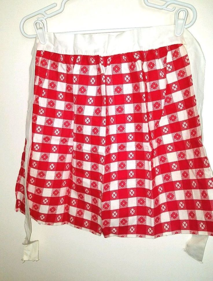 Vintage Red & White with Floral Pattern and Checker Board Squares Half Apron