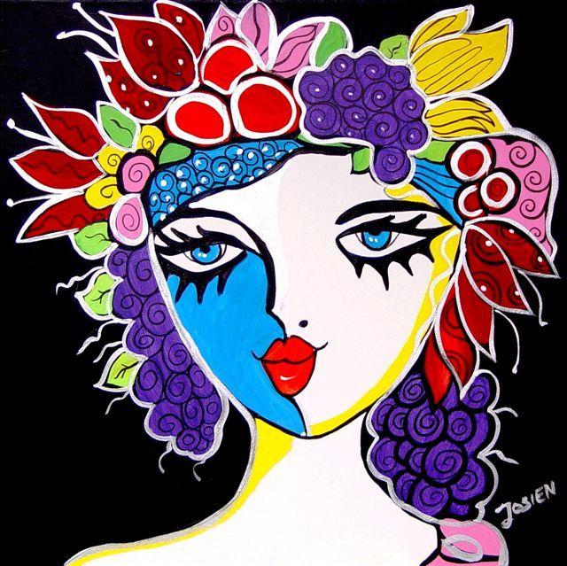 Titel schilderij: Druivenmeisje afm. 60x60cm prijs € 750,- met certificaat van echtheid / bij contante betaling 10% korting op totaal bedrag.