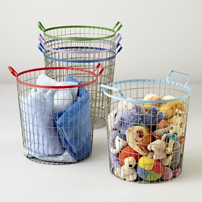 Kids Storage: Colorful Wire Storage Bins In Floor Storage   Stuffed Animal  Storage