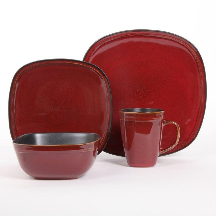 Cafe Rustica 16PC Dinnerware Set - Red  -  buy @ www.dishes4less.com