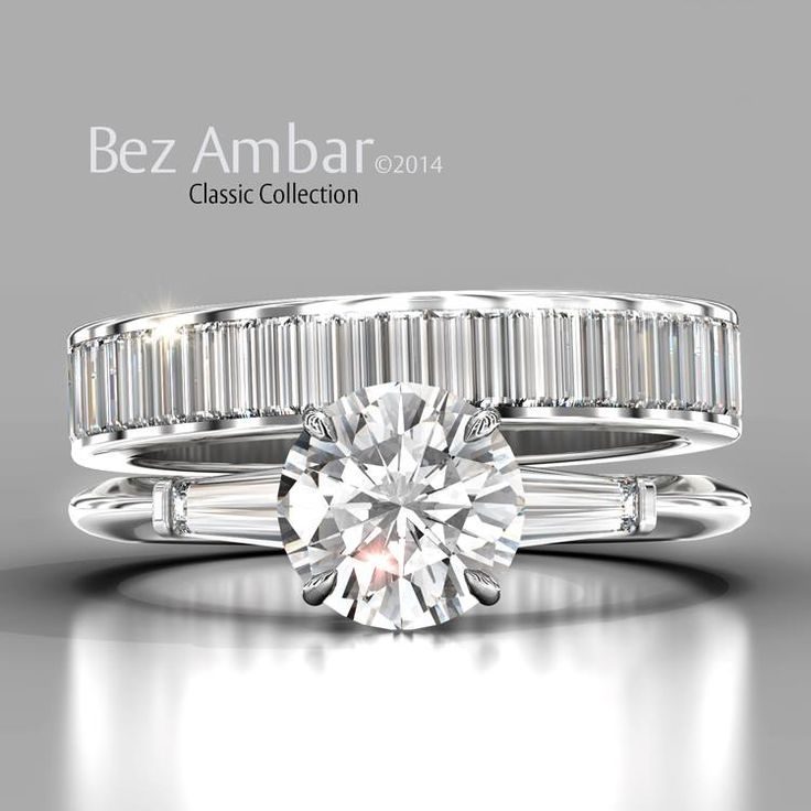 A classic Bez Ambar engagement ring with tapered baguettes with a matching diamond baguette wedding band #diamondjewelry  www.bezambar.com