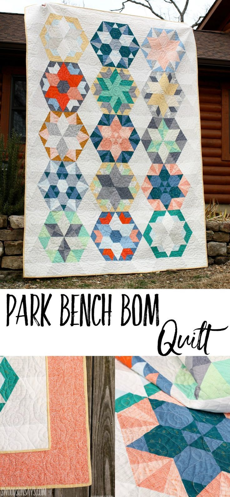 My mom made this beautiful Jaybird Quilts Park Bench BOM quilt from a Missouri Star Quilt Company kit and I wanted to share it since she isn't online! After spending several weeks staying in her log cabin snuggled under her…