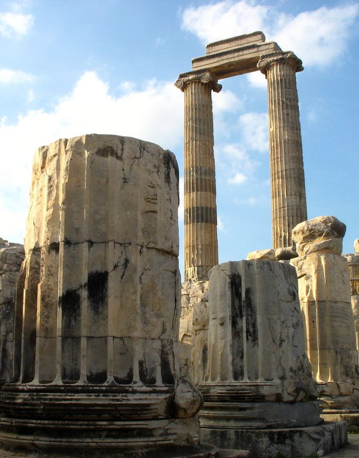Temple of Apollo in the ancient Roman city of Didyma, Turkey.  Didyma was an ancient Greek sanctuary on the coast of Ionia.  Next to Delphi, Didyma was the most renowned oracle of the Hellenic world.  The temple and oracle of Apollo, together called the Didymaion, were built in the 6th century BC.  (by ana).