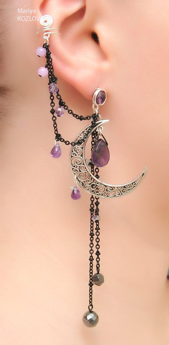 Silver Night Ear Cuff with Fairy Amethyst Stars by LotEarCuffs on Etsy