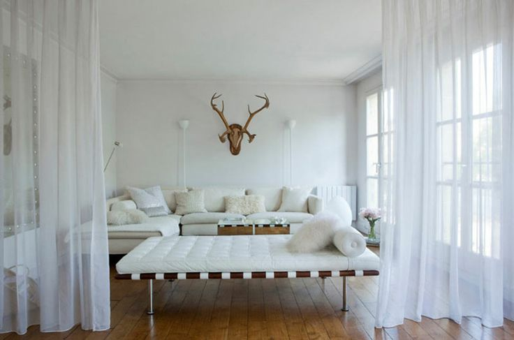 .Living Rooms, Sheer Curtains, Man Room, Antlers, Livingroom, Interiors, Deer Head, White Living Room, White Room