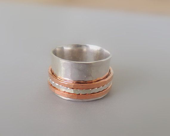 Sterling Spinner Ring Copper and Sterling Wide Band par MoodiChic, $58.00