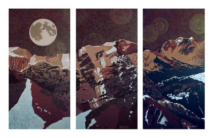 """Rockies Triptych"" by Artist Rhonda Lund Each of 3 pieces; 18 x 48"" Acrylic on Canvas; Staple back 'glorious shapes from the light of the moon in the Rockies"