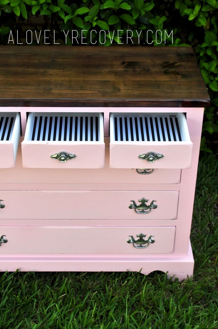 painted dresser. painted furniture. DIY, Stripes, Peekaboo drawers, striped dresser.pink dresser. stained top stained dresser, pink and white dresser. silver hardware. shabby chic glossy high gloss modern  home decor, little girls dresser, little girls pink room makeover