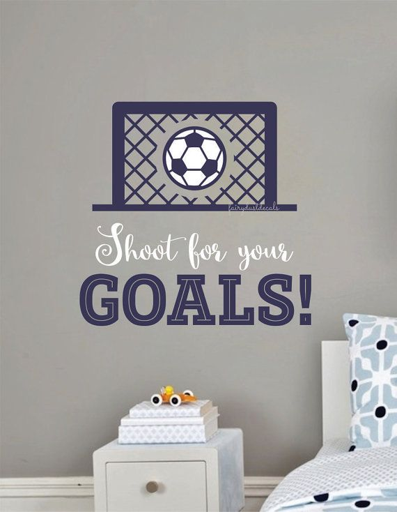 soccer wall decal vinyl letters soccer ball in net futball sport wall decal