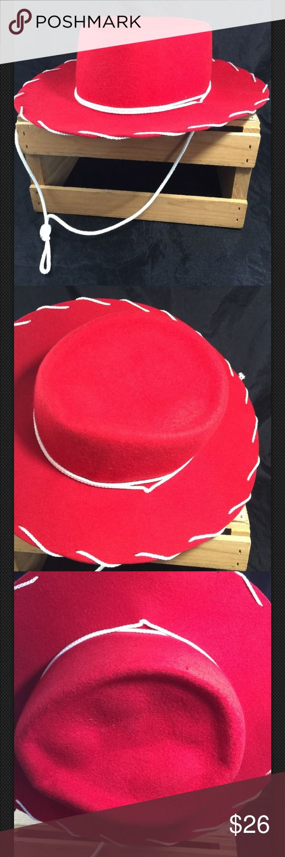 "LHC Red Cowboy Hat LHC Brands Red Cowboy Hat Youth Kids Size Small Half Pint 100% Wool  This is an adorable red hat for kids  Size small / half pint Hat would work perfect for Halloween, photo shoot, dress up, a play, a collectors item, or whatever you can use you imagination to use it for!! 100% wool  The very top of the hat is slightly misshaped  White rope for under chin  Made in the USA 12"" total length from front to back 11"" total width  6 1/2"" inside front to back  5 1/2"" inside width…"