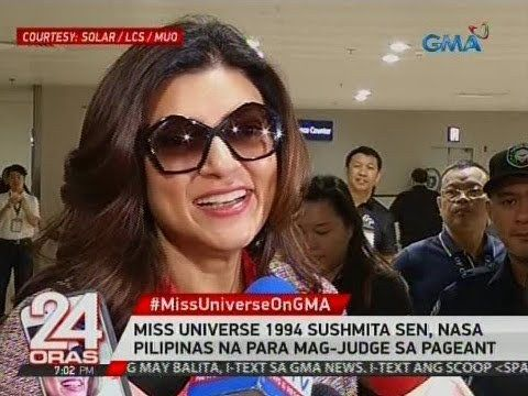 24 Oras: Miss Universe 1994 Sushmita Sen, nasa Pilipinas na para mag-judge sa pageant - WATCH VIDEO HERE -> http://philippinesonline.info/entertainment/24-oras-miss-universe-1994-sushmita-sen-nasa-pilipinas-na-para-mag-judge-sa-pageant/   24 Oras is GMA Network's flagship newscast, anchored by Mike Enriquez, Mel Tiangco and Vicky Morales. It airs on GMA-7 Mondays to Fridays at 6:30 PM (PHL Time) and on weekends at 5:30 PM. For more videos from 24 Oras, visit  Subscribe to