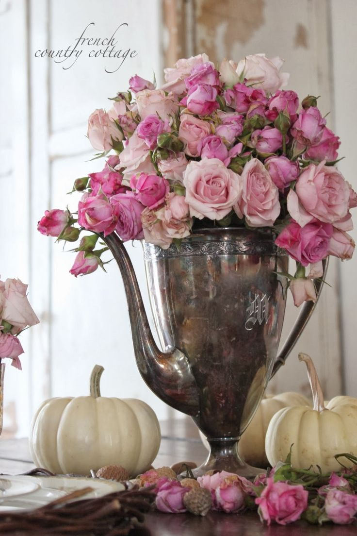 Old silver, pink roses, white pumpkins...