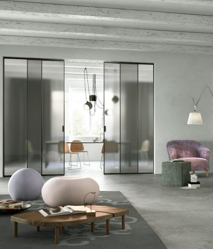 porte coulissante en verre, intérieur gris, cloiso amovible verre opaque