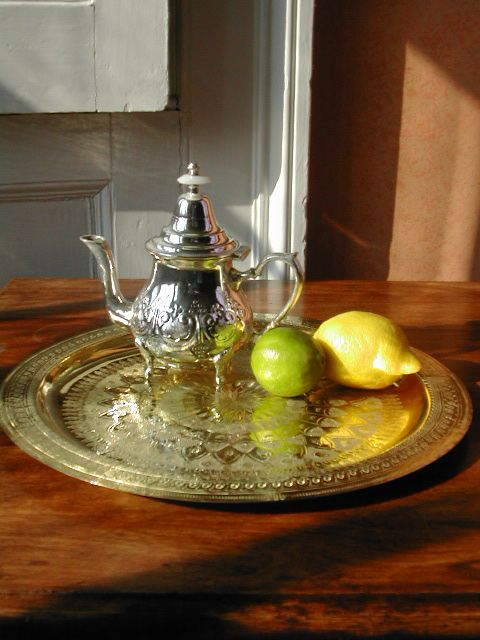 Engraved traditional Moroccan brass tea tray. http://www.maroque.co.uk/showitem.aspx?id=ENT00393&s=90-40-005