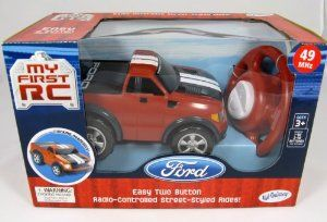 My First RC Red Ford F150 Raptor by Kid Galaxy. $39.99. Set includes 1 vehicle and 1 controller. Real working headlights. Easy 2 button radio control!. Great first RC vehicle for kids as young as 3 years!. The simple, 2-button radio control makes a great introduction to RC vehicles for kids as young as 3 years. Fun, street-styled ride with real working headlights adds to the realism!