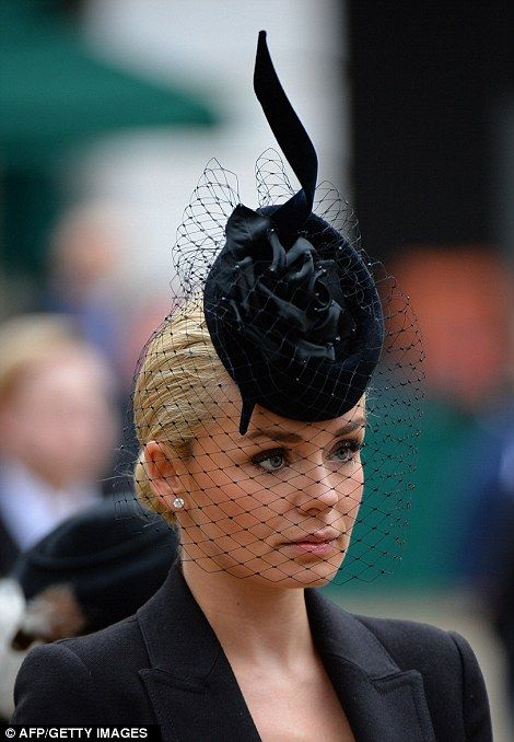 British mezzo-soprano Katherine Jenkins arrives to attend the ceremonial funeral service of British former prime minister Margaret Thatcher at St Pauls Cathedral