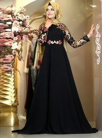 Patterned Evening Dress - Black - Muslim Evening Dresses - Modanisa