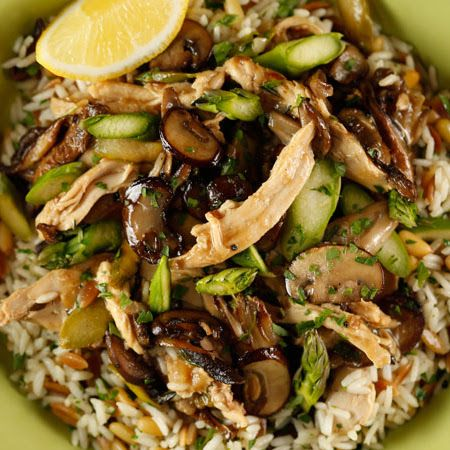 Mushroom, Asparagus, Chicken Saut with Rice Pilaf