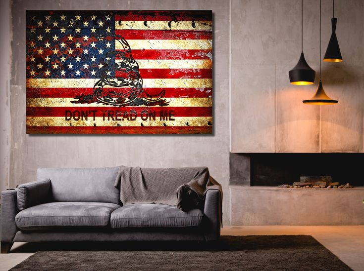 """Gadsden Flag themed art work and prints - Don't Tread On Me This beautiful print is a mix of the American Flag and the Gadsden Flag. It depicts an American Flag and a coiled viper painted on a rusted metal door. """"Don't Tread On Me"""" is printed on the lower half of the Flag  Available on stretched canvas or archival paper."""