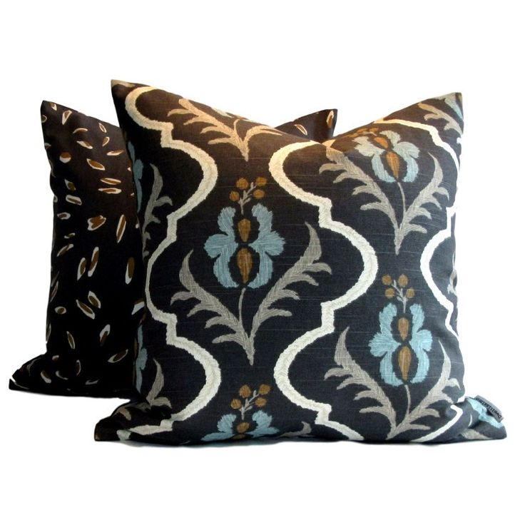"100% cotton, Linen look from Robert Allen. DwellStudio Pillow Cover Saskia Graphite in shades of blue, turquoise, mocha black and cream 20"" pillow"