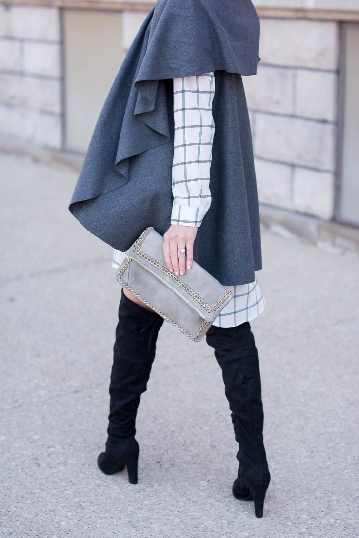 how-to-wear-a-shirt-dress-in-the-winter-fall-and-winter-layers-over-the-knee-boots-grey-draped-vest-how-to-layer