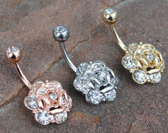 Choose 2 Crystal Rose Belly Button Navel Ring Peircing, Body Jewelry, 14 G