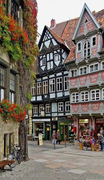 Market square of Quedlinburg in Saxony-Anhalt, Germany