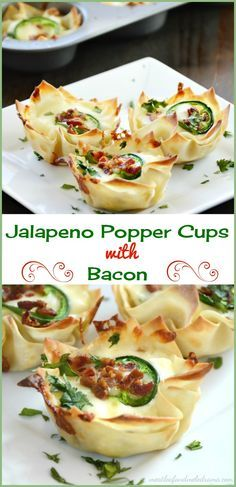 Jalapeno popper cups with bacon. Wonton wrappers are filed with a spicy cream cheese mixture and baked in a muffin tin for an easy snack or dinner anytime. Great for Cinco de Mayo parties too!