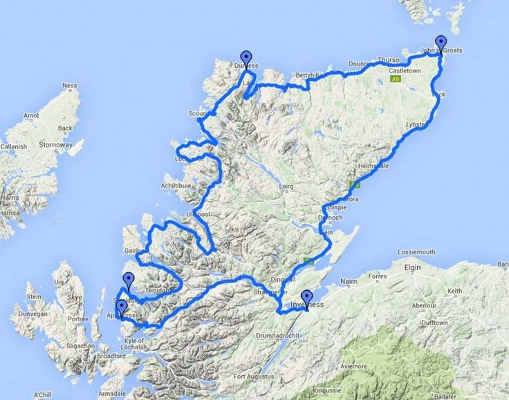 The North Coast 500 route in Scotland runs from Inverness, to the Kyle of Lochalsh on the West Coast, via the rugged north coast to John O'Groats, before heading down the east coast, completing the loop in Inverness