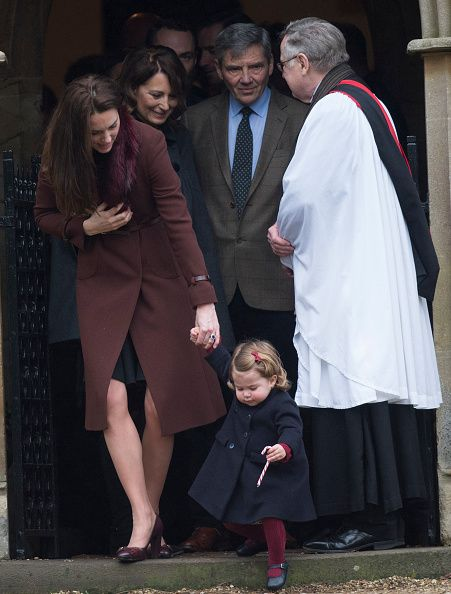 Catherine Duchess of Cambridge Princess Charlotte of Cambridge Carole Middleton and Michael Middleton attend Church on Christmas Day on December 25...