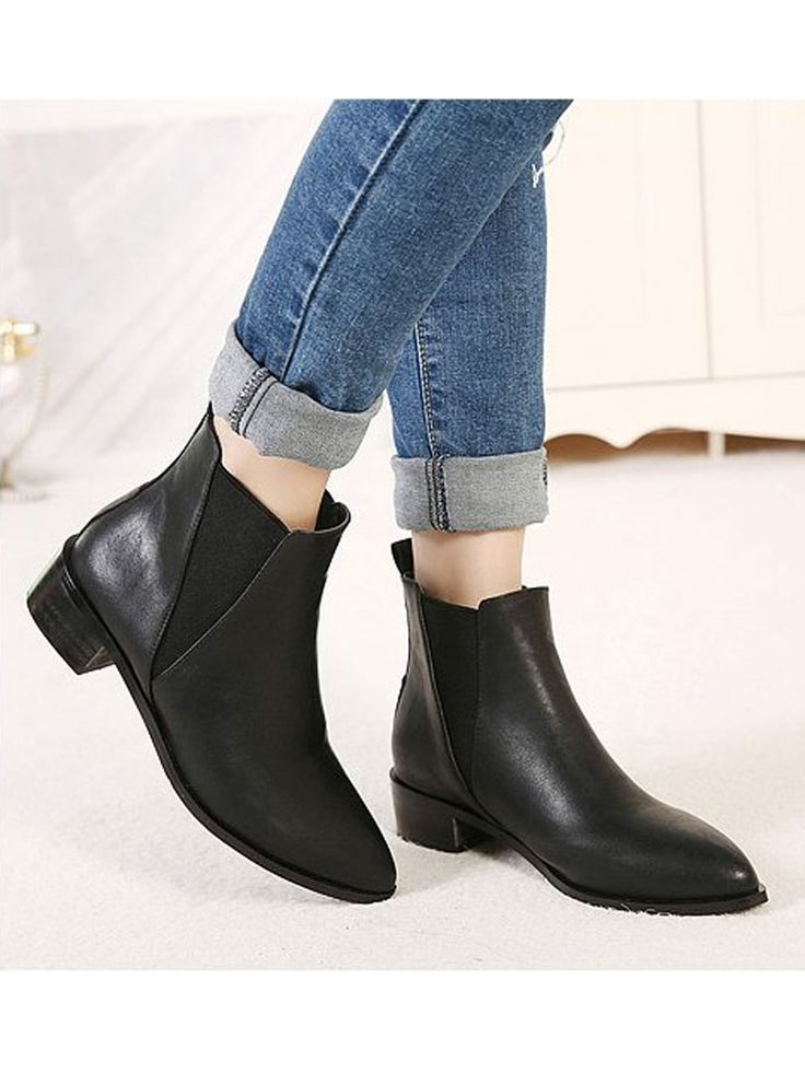 Black Ankle Boots With Elastic Band