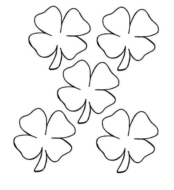 spring leaf coloring pages  trèfle à quatre feuilles