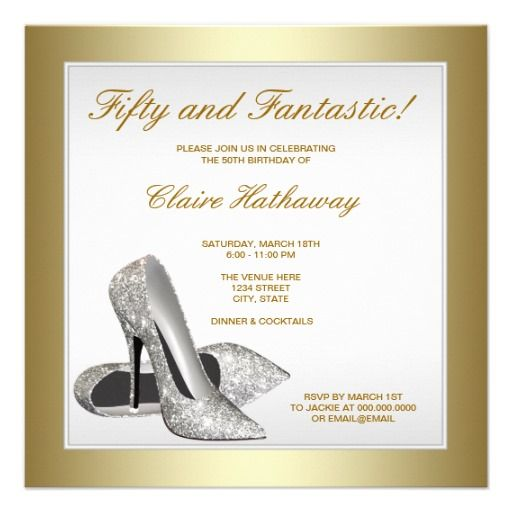 29 best 50th birthday party invitations images on pinterest 50 white gold high heels womans 50th birthday card filmwisefo Gallery