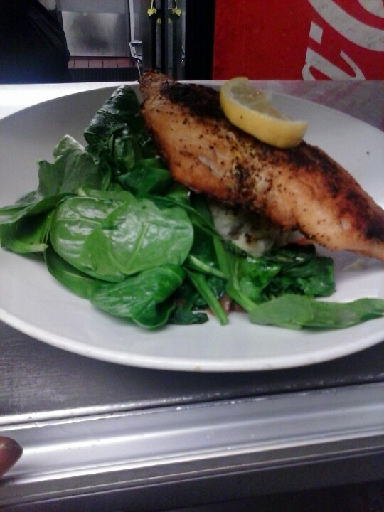 Lemon pepper red snapper fish sauteed spinach diced tomato mash ...