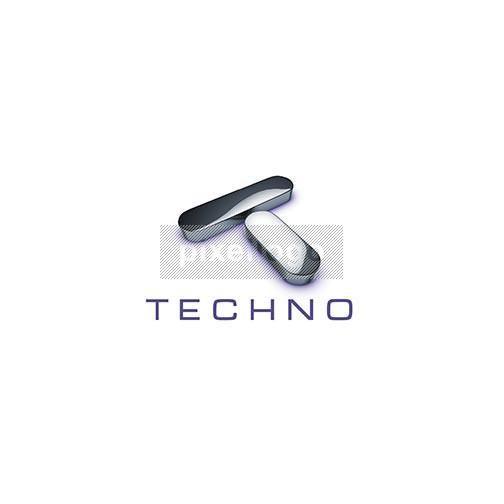 "Chrome Letter ""T"" 3D Logo 3D-690 - Pixellogo"