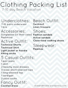 Beach vacation packing list. Click through for more info/photos. | best stuff