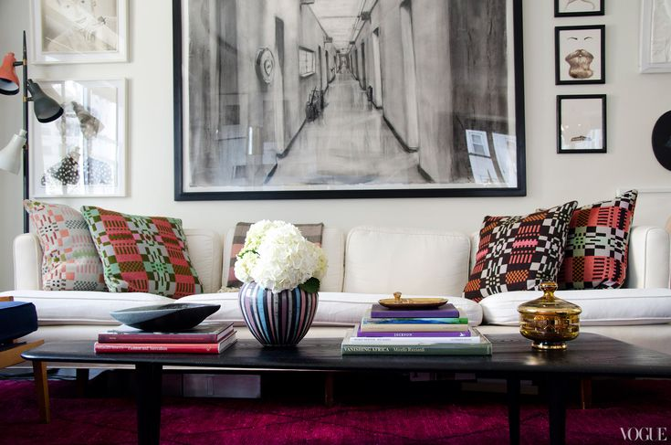 """Lovely home in Vogue: """"I like to mix modern and vintage,"""" she says.  """"In this room, Donna Wilson pillows from The Future Perfect sit on a  1950s sofa.""""    Pictured: (clockwise from top left) Joseph Heidecker, National Beauty Series, Striped String, 2010; William Kentridge, Drawing From Il Ritorno D\'Ulisse (Hospital Corridor), 1998; John Gordon Gauld, Beard #23, 2011; John Gordon Gauld, Beard #87, 2011; John Gordon Gauld, Beard #14, 2011; Joseph Heidecker, National Beauty Series, 2 Tone…"""